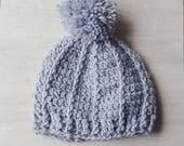 Toddler Hat, Gray pompom ...