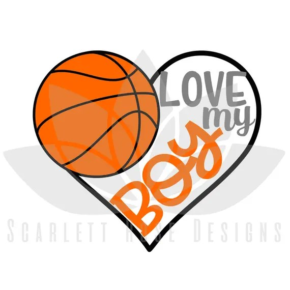Download Basketball Heart Love my Boy SVG cut file for silhouette