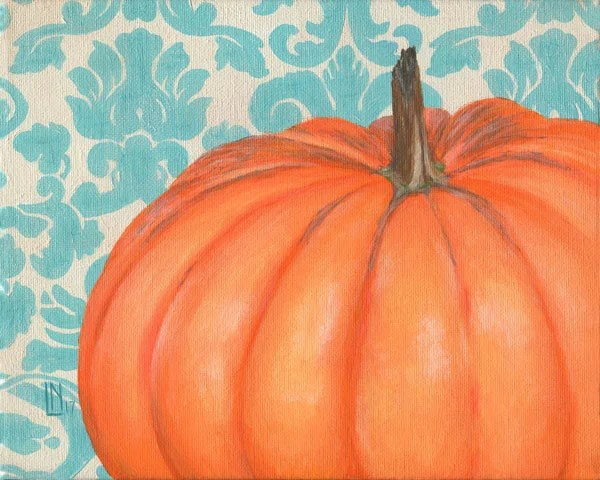 Pumpkin with Damask 8x10 ...