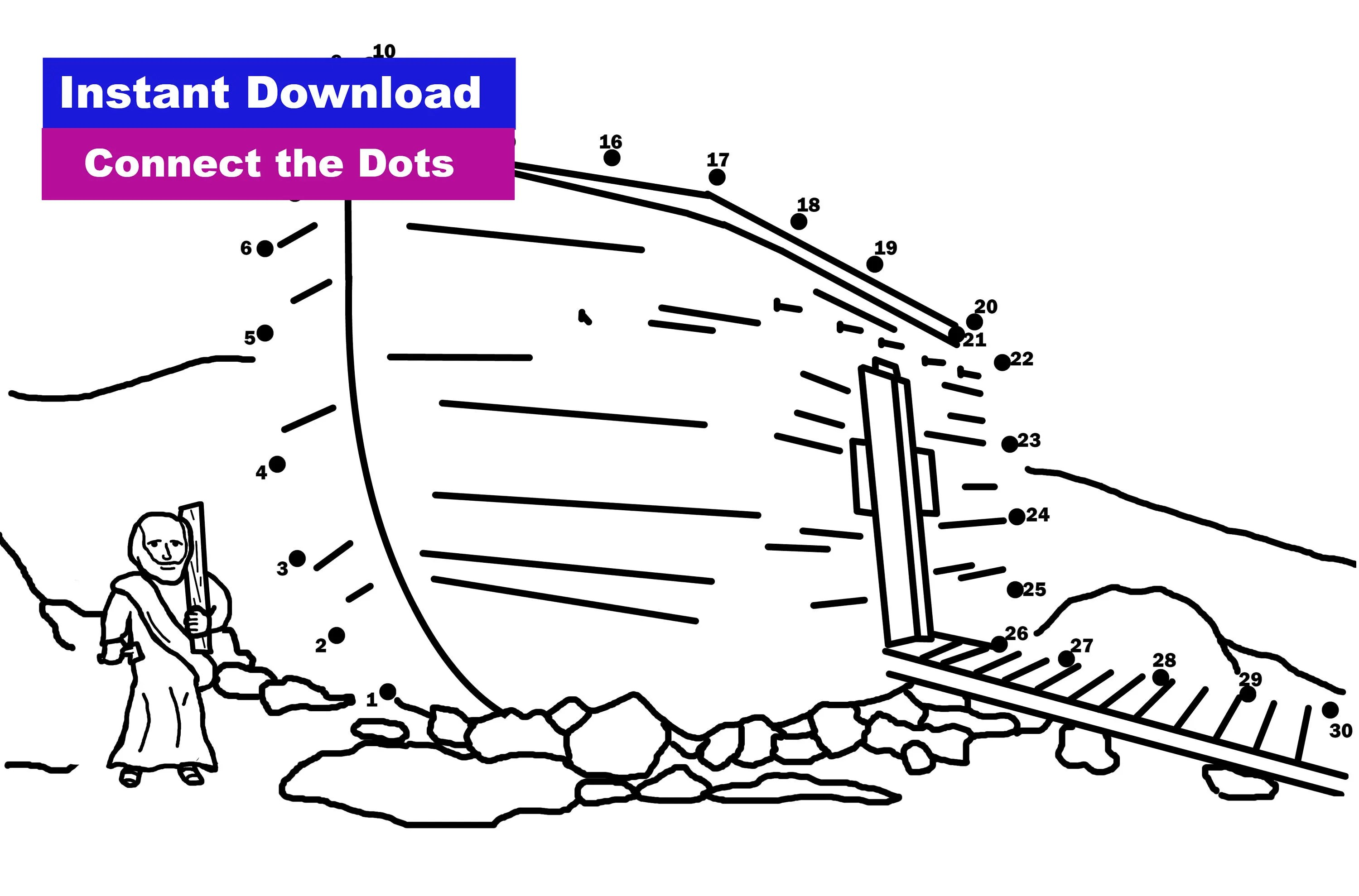 Noah S Ark Connect The Dots Coloring Sheet Sunday School