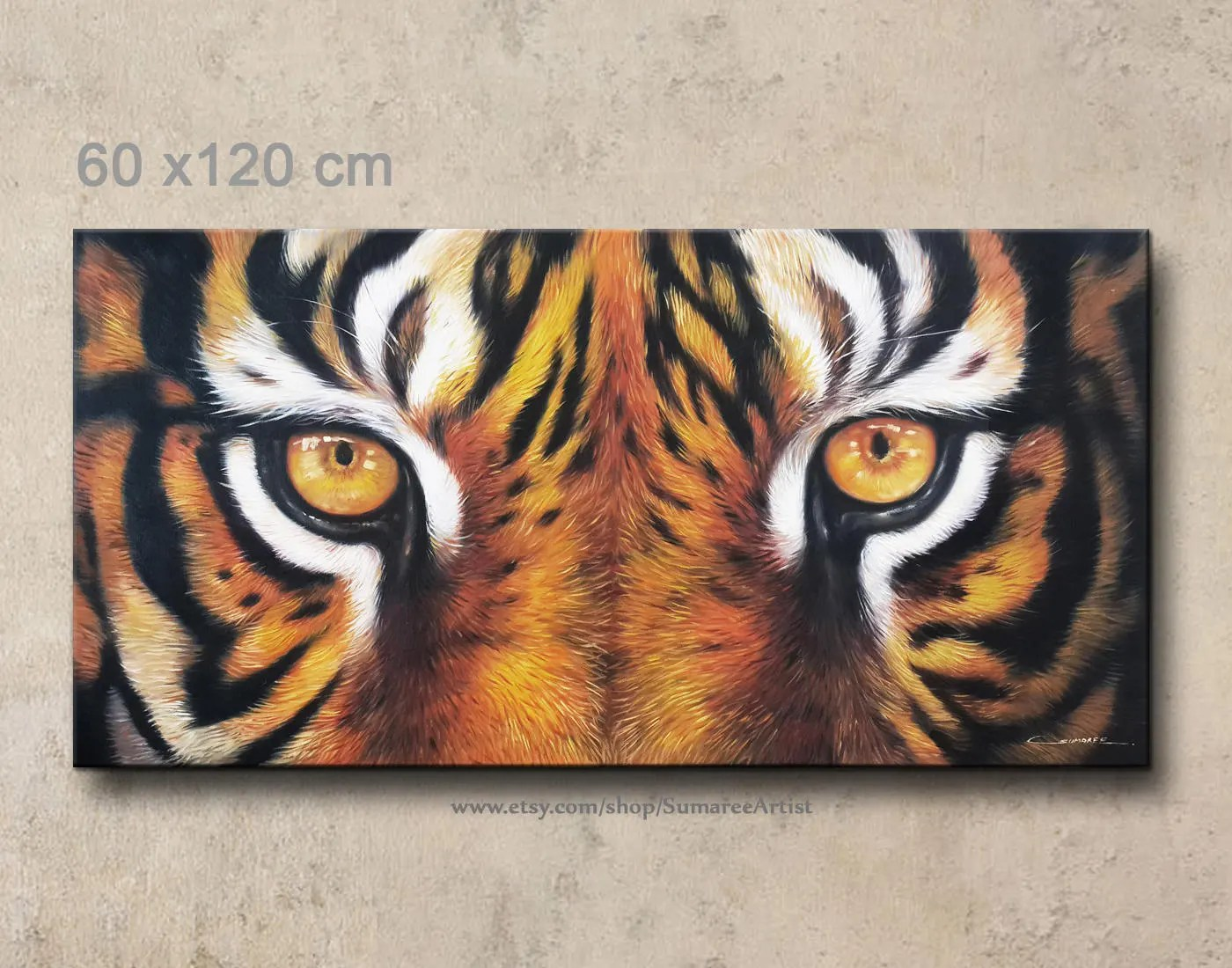 60 X 120 Cm Tiger Eyes Oil Painting On Canvas Wall Decor