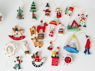 22 Painted Wood Miniature Christmas Ornaments: Advent Wooden Holiday Toys, Trees, Dolls, Sleighs Mini Tree Decoration