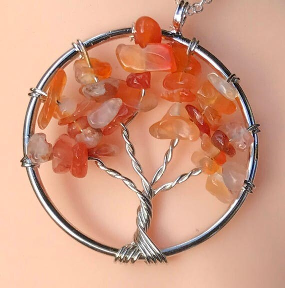 Handmade Carnelian Tree of Life Pendant