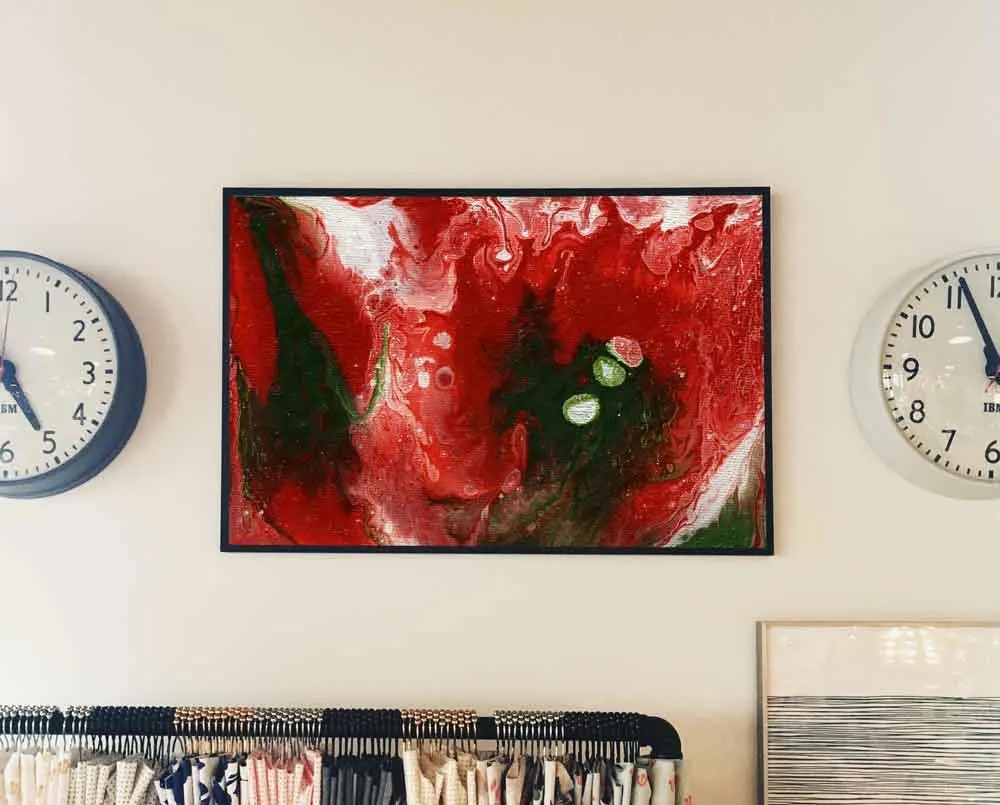 Abstract Painting Red and...