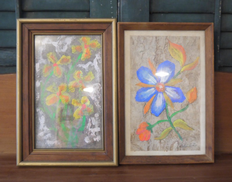 Pair of Flower Paintings, 1960s Groovy, Flower Power, Still Life, Artist Chavez, Watercolor Gouache, Small Size, artwork,