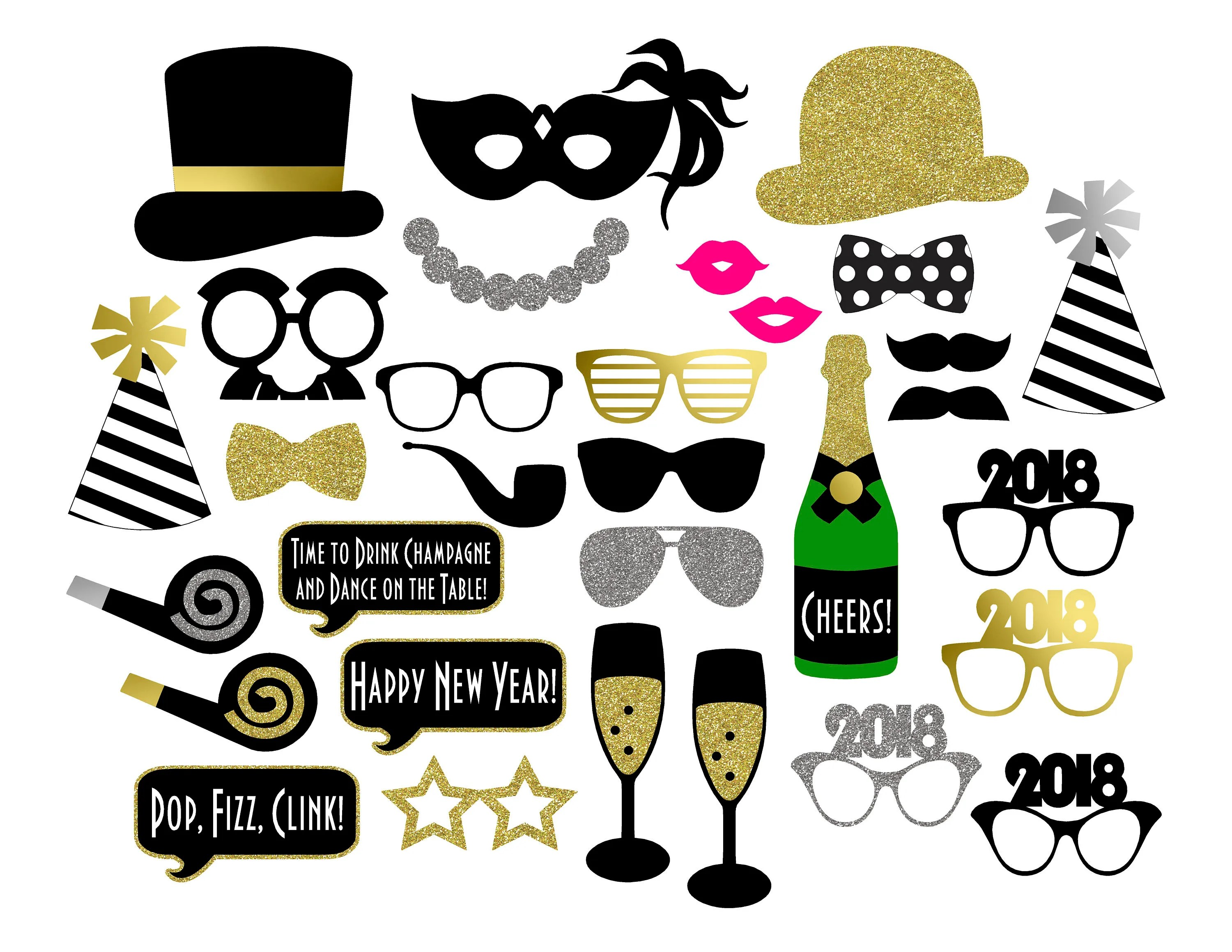 New Year S Photo Booth Props Printable Instant