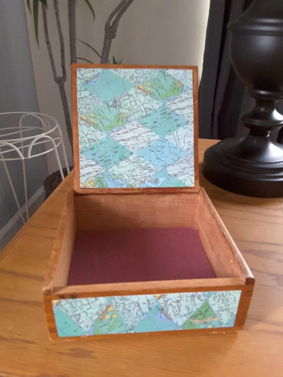 Vintage cigar box with map paper accents for trinket box, jewelry,  or other small storage