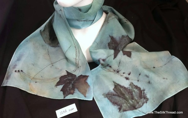 Blue Silk Scarf, ECO-printed with actual leaves, all natural colors, totally organic & renewable, sustainable art by artist, 11 x 60, 125A