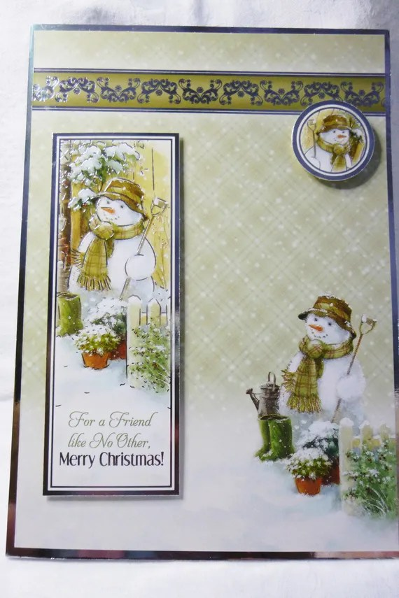 Snowman At The Gate, Christmas Greeting Card