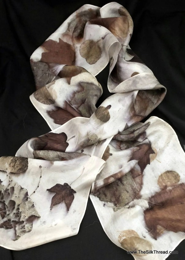 """All Natural Silk Scarf, ecoprinted with maples and roses by artist, all natural, sustainable, renewable slow fashion art, 8"""" x 72"""" 125G"""