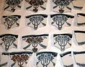 Mosaic Tiles  Vintage  Teal, Gold, Flower Swags w Broken white China Tessera