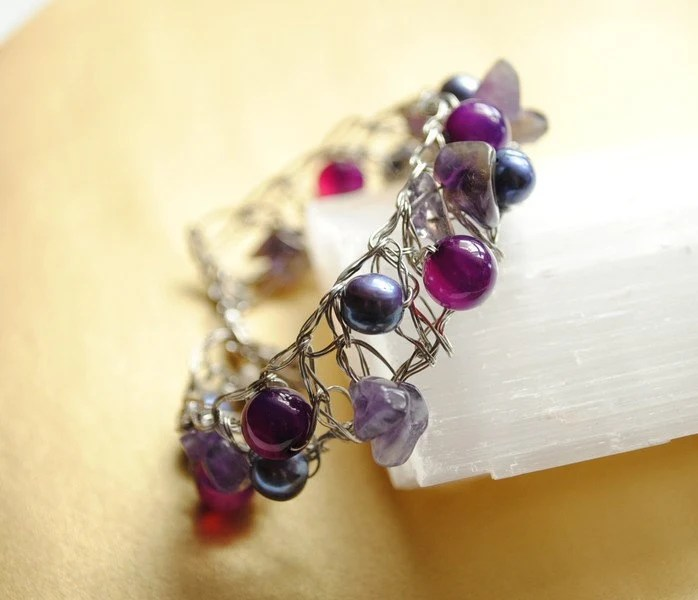 Bracelet - Purple Orchid  - Jewelry Exhibition in Rome - by Schneider Gallery