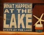 What happens at the lake, stays at the lake Rustic  subway style wood sign - handcrafted, great father's day gift, cabin, lake home, camper, - kspeddler