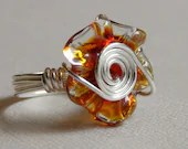 Flower Ring orange and yellow glass