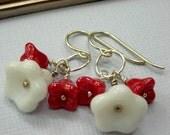 sterling silver flower earrings, red and white flower earrings