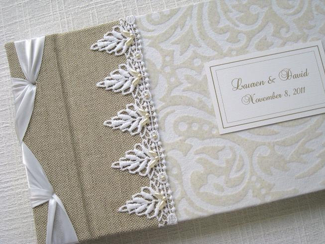 Wedding Guest Book, Photo Album, White and Ivory Flocked Vintage design, Personalized, MADE TO ORDER - Daisyblu
