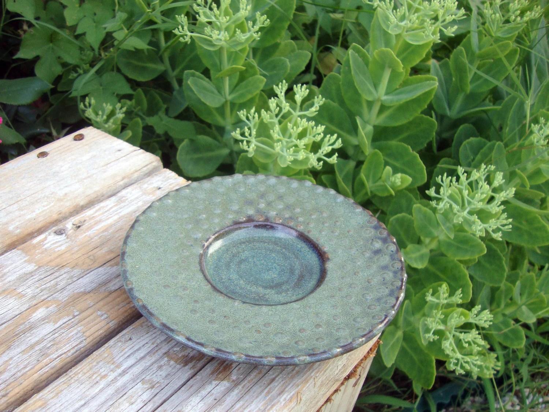 Slip Decorated Black Stoneware Dish - RedBarnStudio
