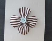 Brown & white stripe Grosgrain Flower Hair Clip with light blue button accent on alligator clip