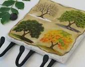 4 Seasons Key Rack, Wall Organizer Hooks, Four Season Oak Tree, Key Hooks, Ceramic Tile, Green Decor, Nature Key Holder, Seasonal - NaturesHeavenlyArt