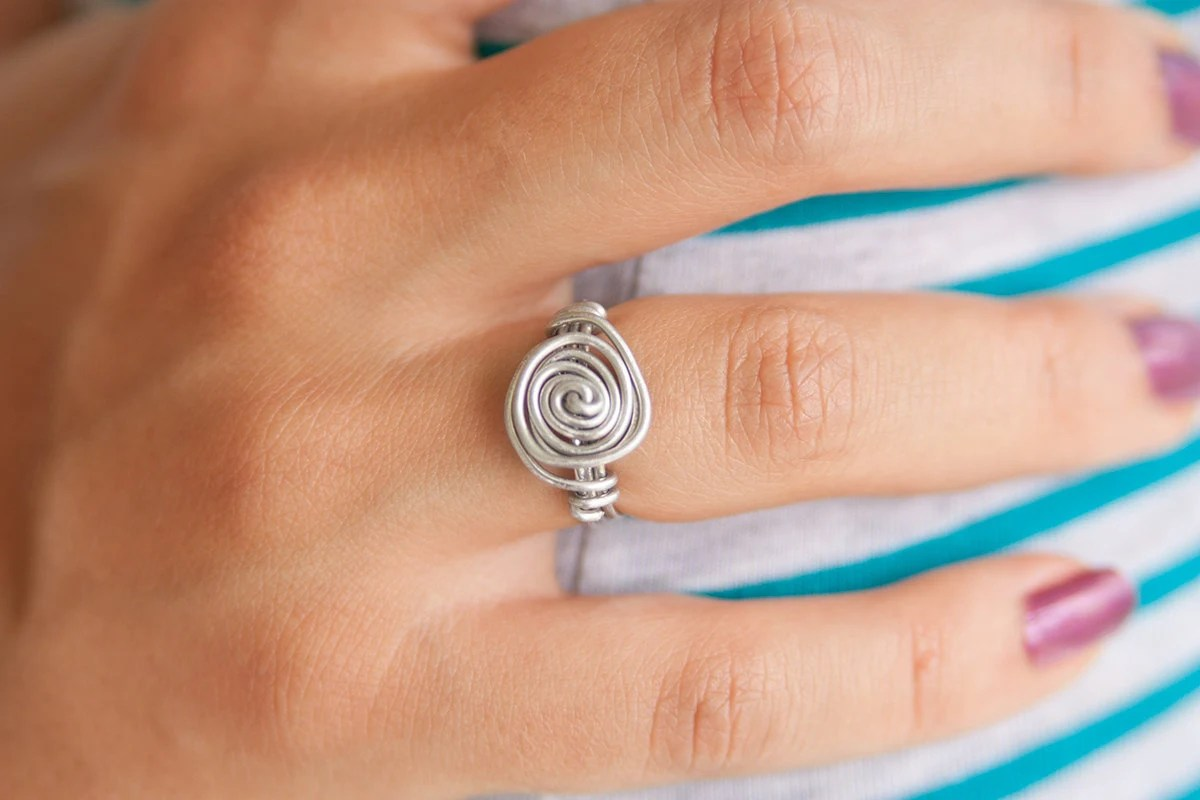 Wire Wrapped Ring Rose Design