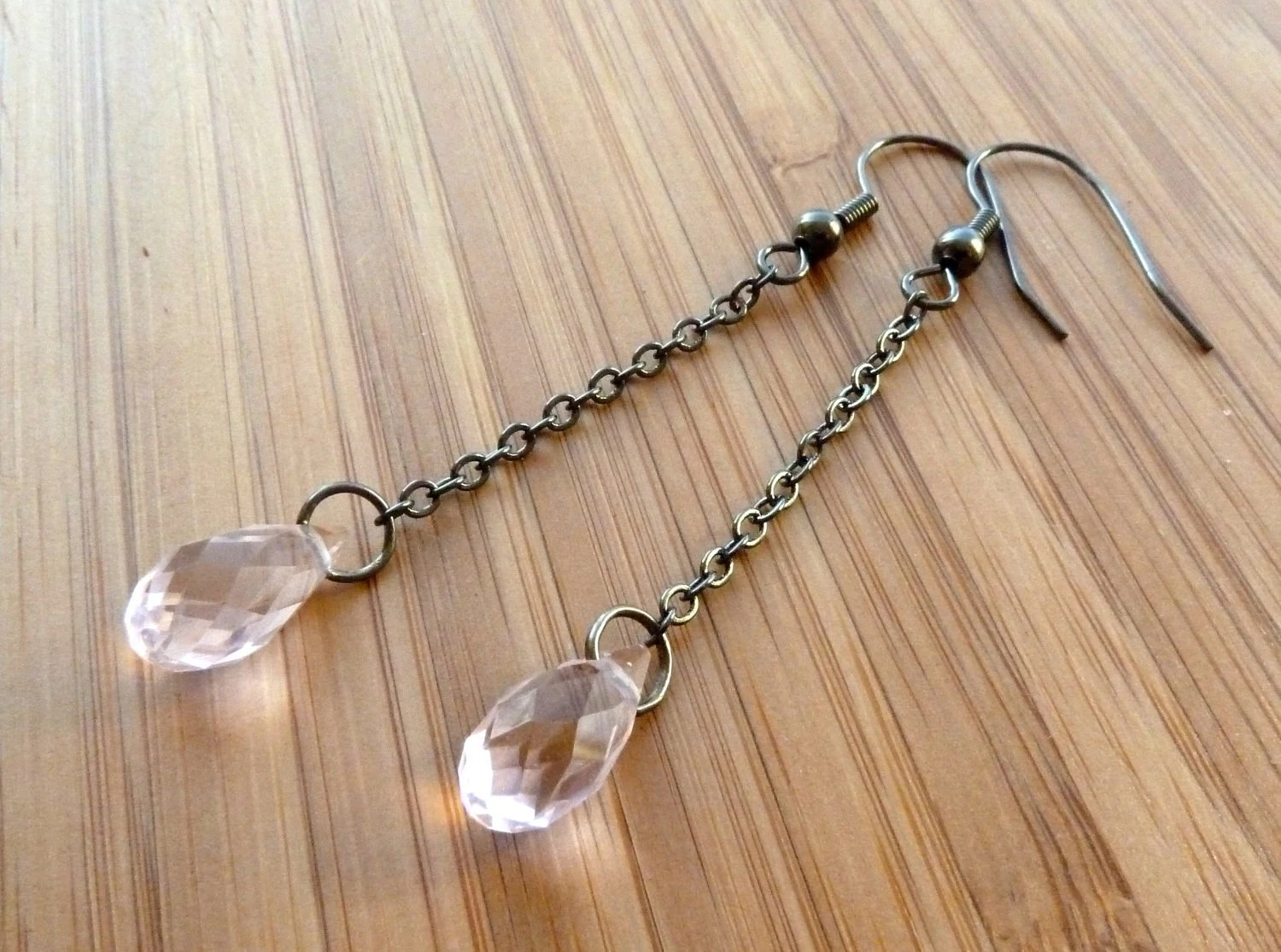 earrings pink swarovski crystal -- Elegant light pink swarovski crystal drop chain earrings in oxidized brass/antiqued gold finish