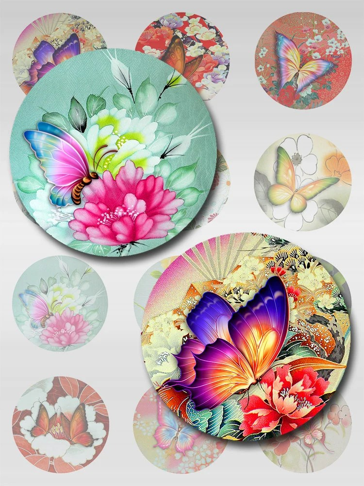 Butterflies Asian Florals Collage Sheet Digital Images 1 inch Rounds JPEG (AG-31R)