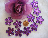 Purple Flowers Rhinestone Embellishment  - 12 pieces