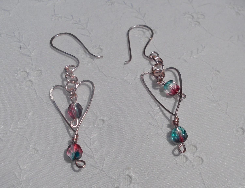 Dangle Heart Earrings . Matching bracelet available