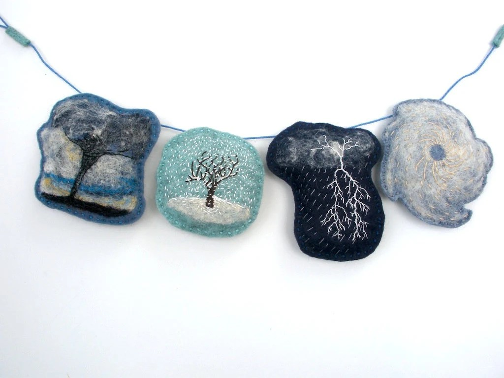 Stormy Weather -- Wool Felt Felted Embroidered Storm Garland (Made to Order. 5-7 Business days)