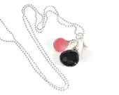 LOIS Pregnancy Necklace- Sterling Silver - Rose Quartz, Amethyst and hot pink Chalcedony