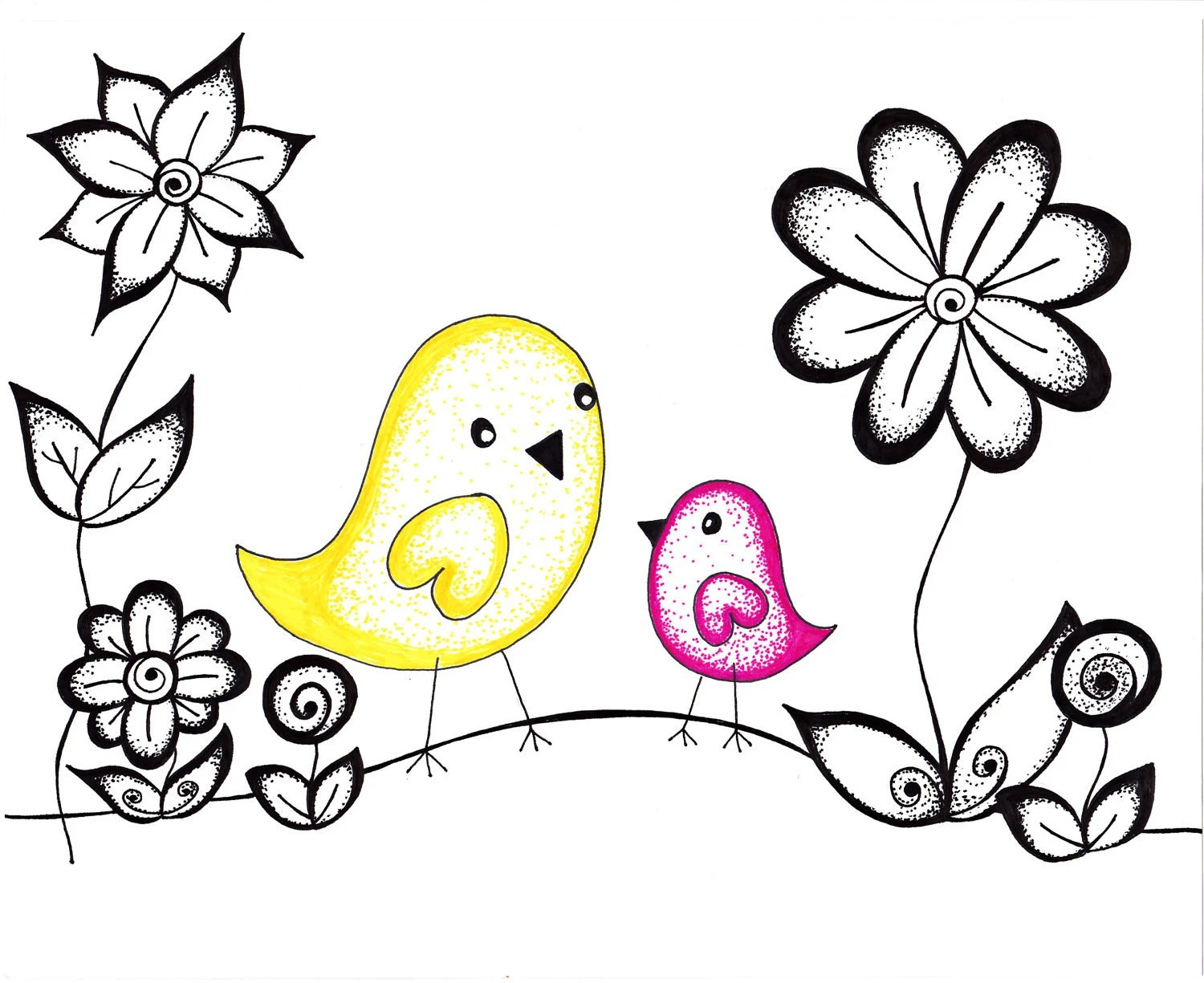 Original Cute Drawing, Birds in Pink and Yellow, 8 x10