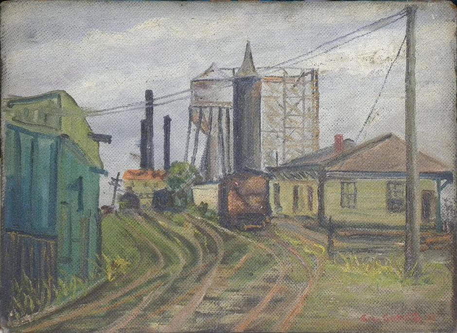 Oil Painting OOAK - WPA Artist Sid Gotcliffe Oil Painting entitled Long Island Railroad Siding