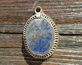 Vintage Pendant Pewter with Semi Precious Blue / Grey Stone