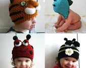 Black Friday sale Crochet animal hat patterns, 15 animal hat patterns at less than 50% off 15 patterns for 35 dollars