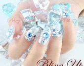 Ice Blue Glitter UV Gel Pointed Nail Tip with Swarovski Rhinestones - Inspired by Chronicles of Narnia - blingup
