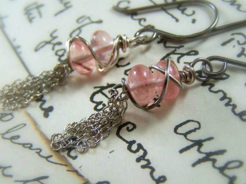 Pink Rose Quartz Earrings Sterling Silver Wire Wrapped Tassel Long Dangle Fashion - Cherry Spritz