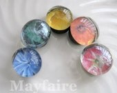Rainbow Floral Glass Drop Magnets (Set of Five)