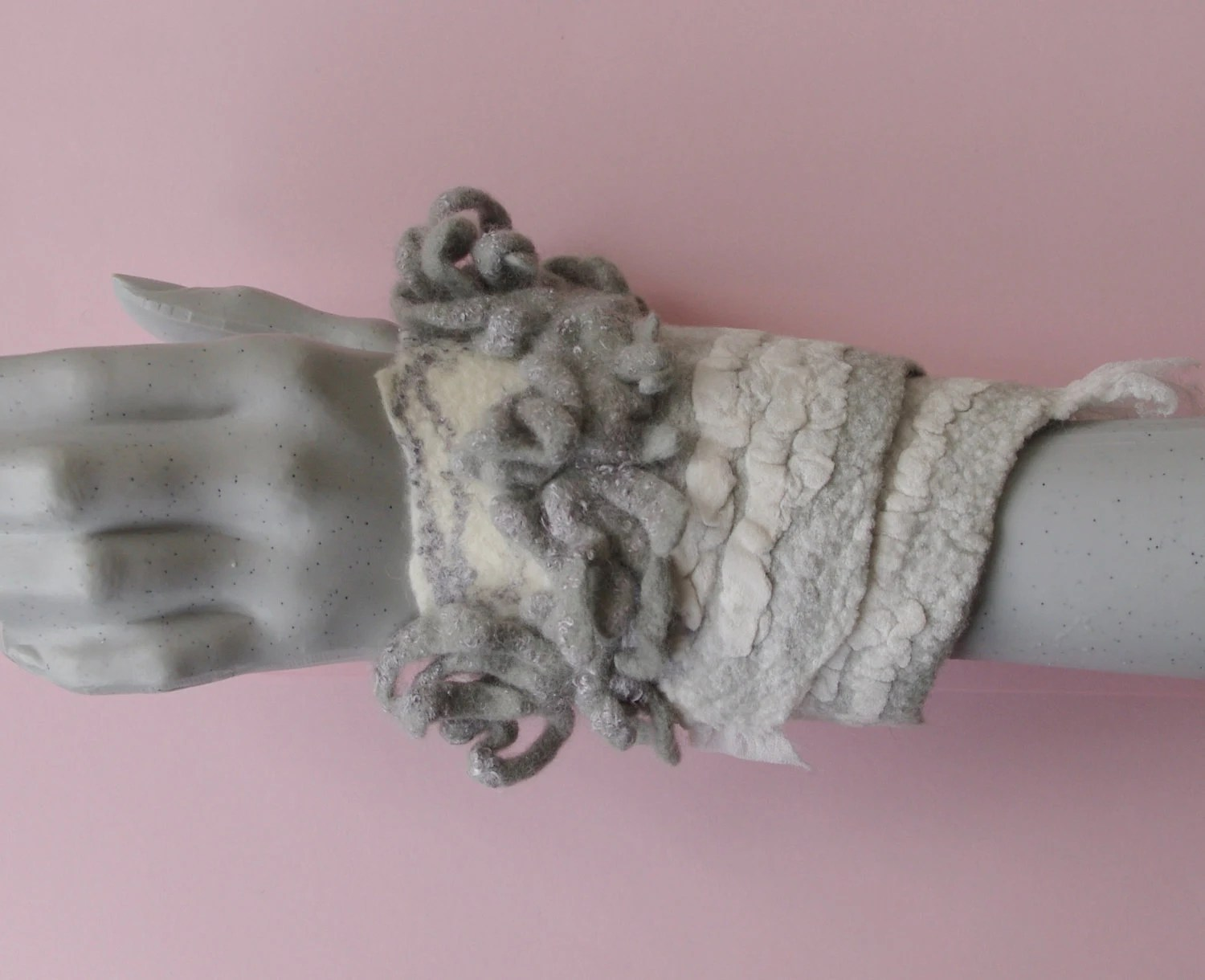 "Wool felted arm bracelet ""Frost smell"" - Handmade wool and silk"