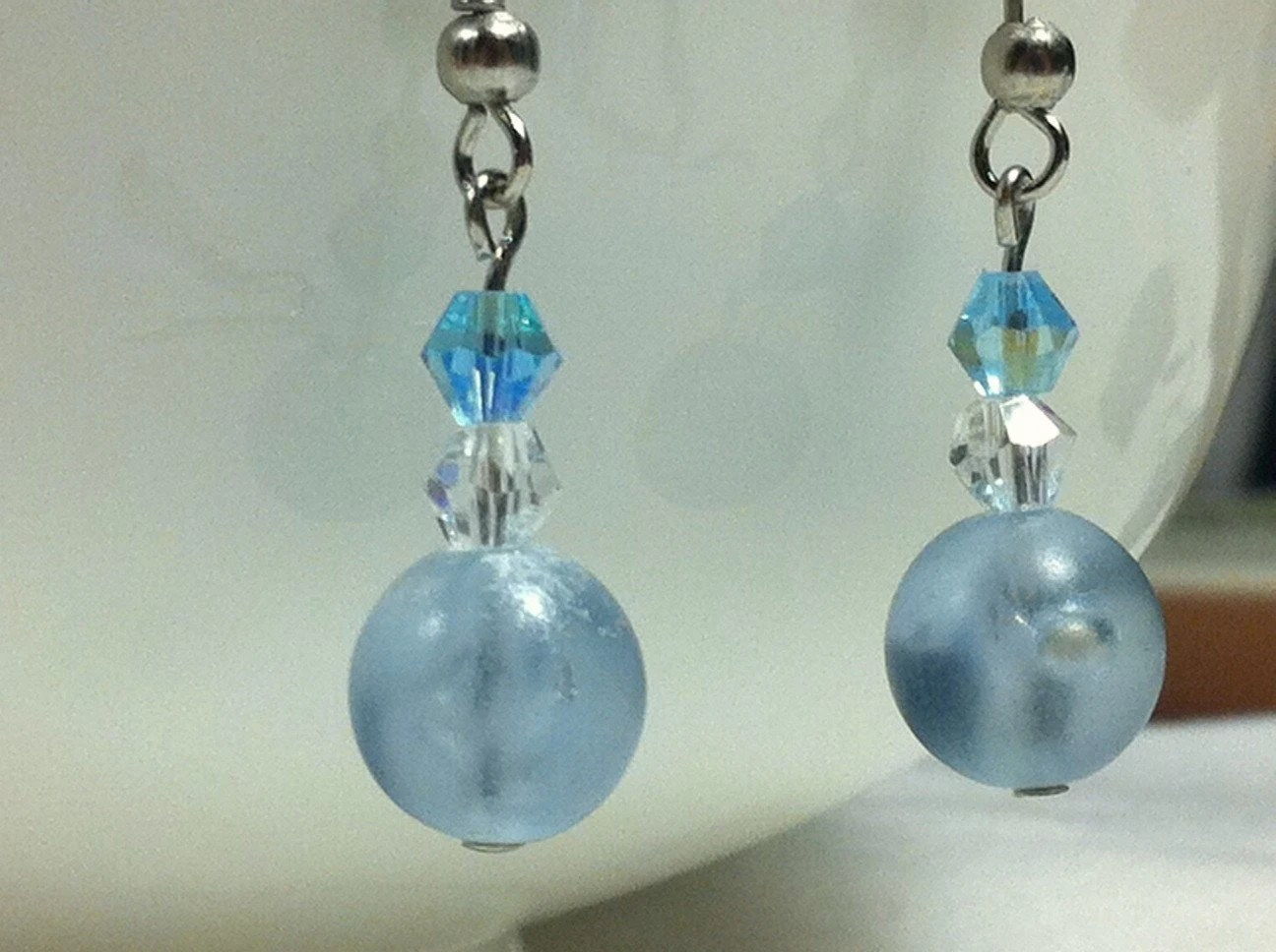 Blue Earrings, Icy Pale Blue, Plastic and Crystal Beads, Winter Ice - Gift Idea, Ready to Ship