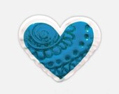 Fun Handmade Jewelry - Blue Heart Ring, Adjustable Plastic Ring