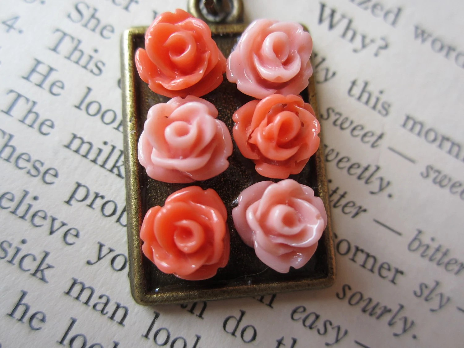 Mini Bouquet Necklace in Rustic Pinks - RefinedRubbishLLC