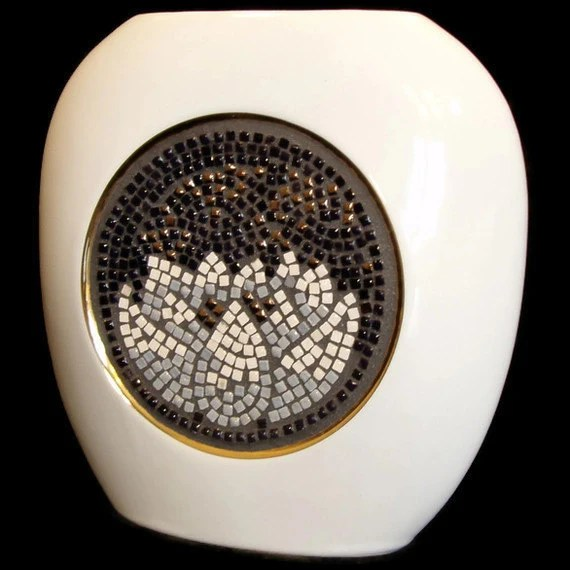 White Vase- Mosaic Japanese Lotus Design in black, white, gold and grey - FischerFineArts