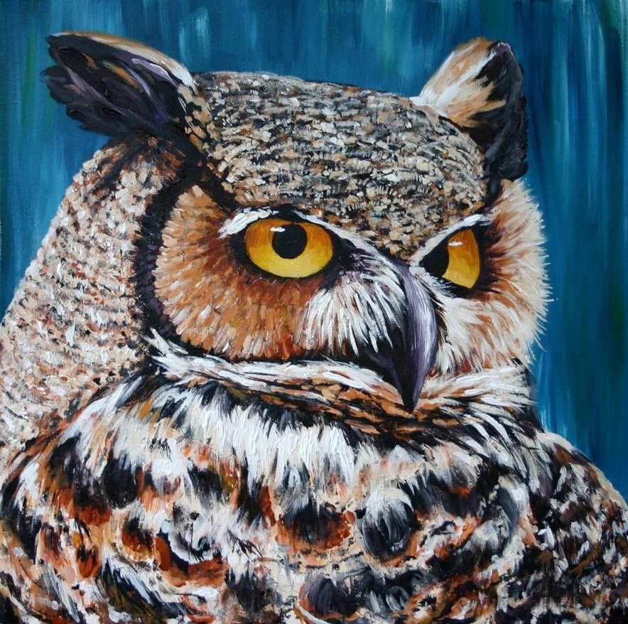 Horned Owl Print, 7x7 Giclee Reproduction of Original Owl Painting in Brown Tan White and Black, on Blue - artbyjae