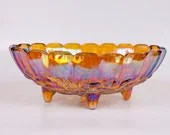 Carnival Glass Bowl Footed Oval Glass Fruit Bowl Iridescent