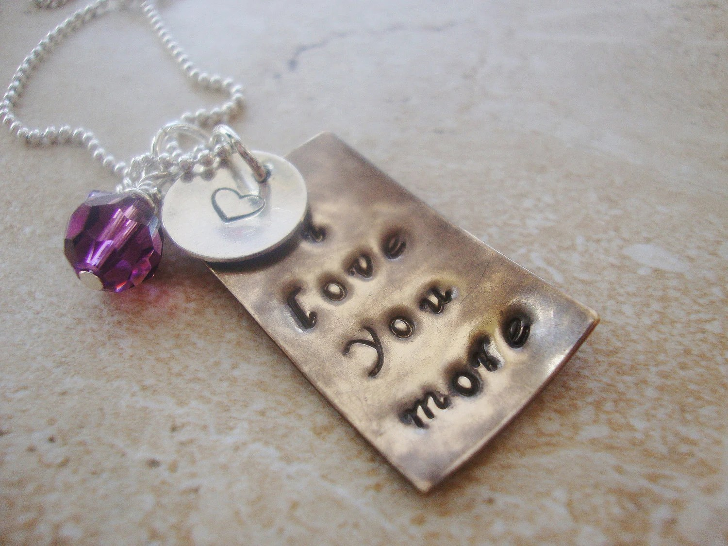 Antiquedbrass i love you more handstamped necklace with amethyst swarovski crystal and sterling silver disc