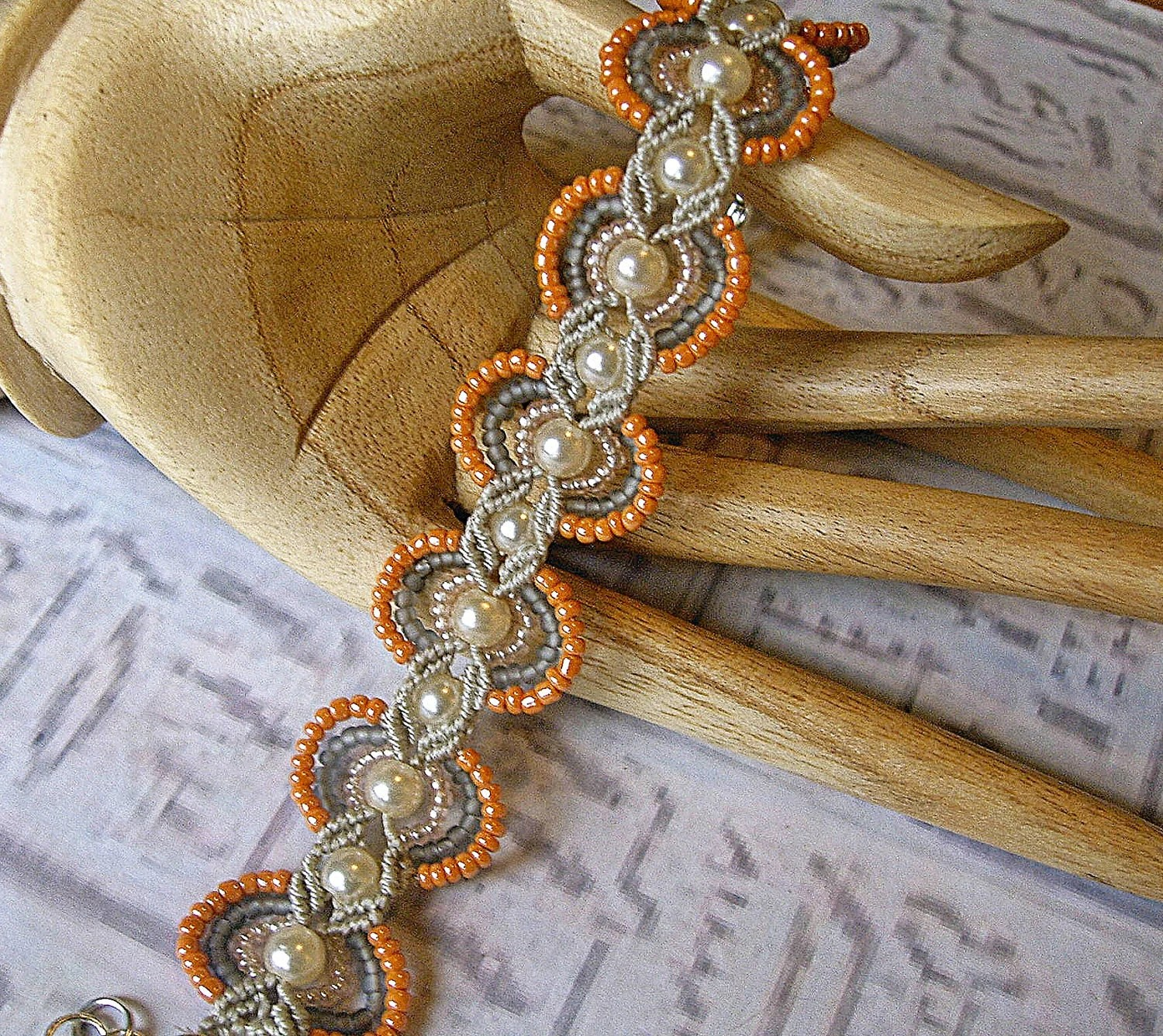 Handmade Micro macrame bracelet in peach, pearls and silver gray. - EgyptianInspirations