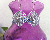 crochet earrings, crochet lacy earrings in silvery bright grey, jewelry women fashions, usa seller