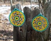 Huichol Lace Mandala Beaded Earrings, Turquoise, Peach, and Yellow