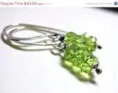 SALE 15% OFF Peridot Earrings . Sterling Silver Lime Green August Birthstone Petite Earrings