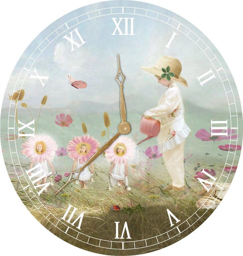 11inch Clock ...  Fine Art  Oil Painted Effect.  Nursery Rhyme Collection...Mary Mary Quite Contrary... Childrens Nursery Gift